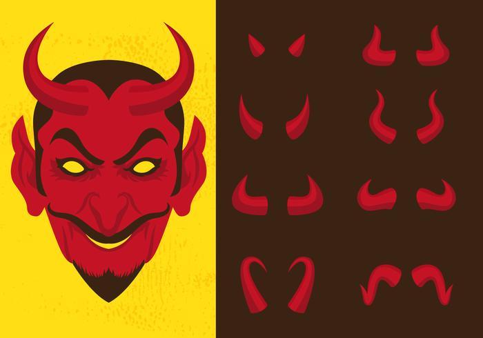 Luzifer und verschiedene Teufel Hörner vektor