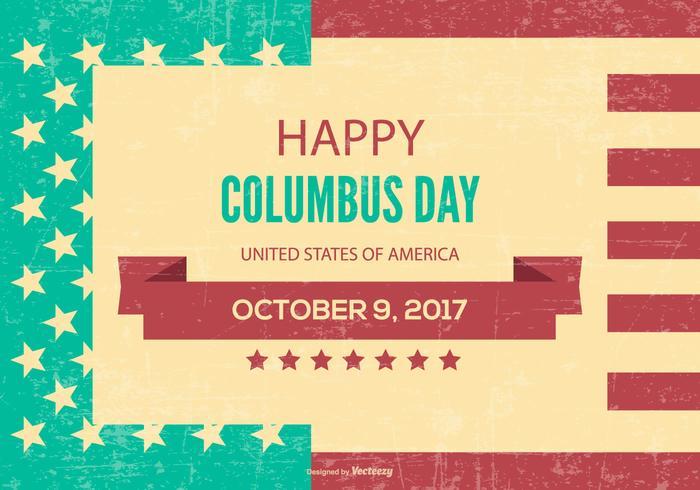 Retro stil Columbus dag illustration vektor