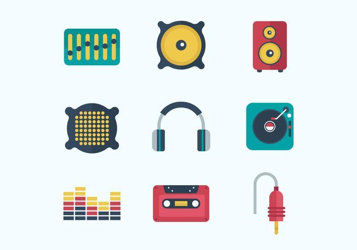 Gratis musik ljud ikoner vektor