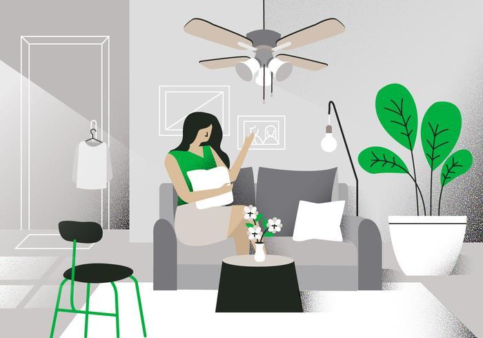 Modern Living Room Vektor Bakgrund Illustration
