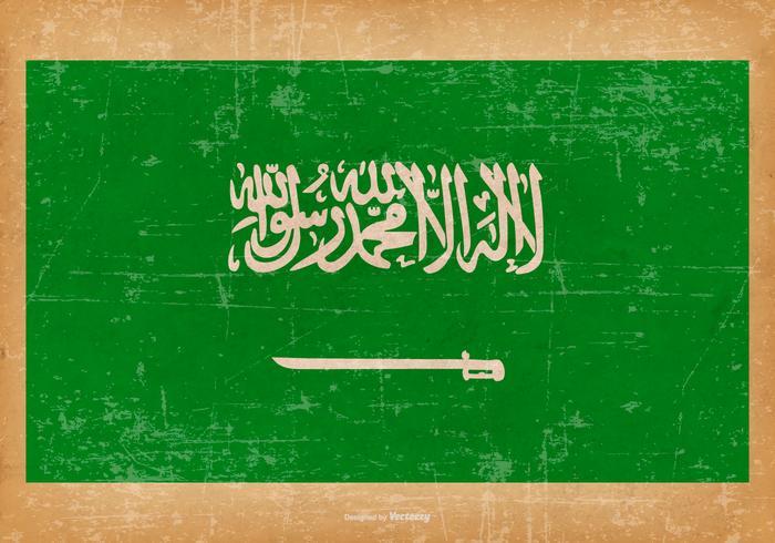 Grunge flagga i Saudiarabien vektor