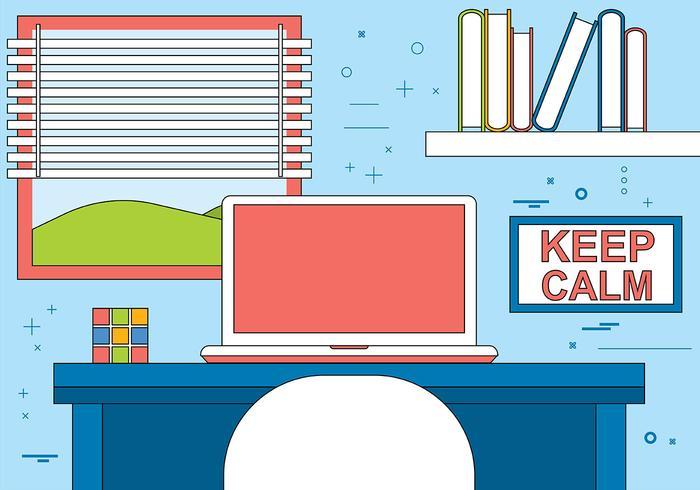 Free Flat Vector Designers Schreibtisch Illustration