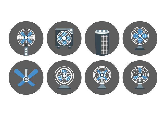 Ikoner för fläkt och ventilator vektor