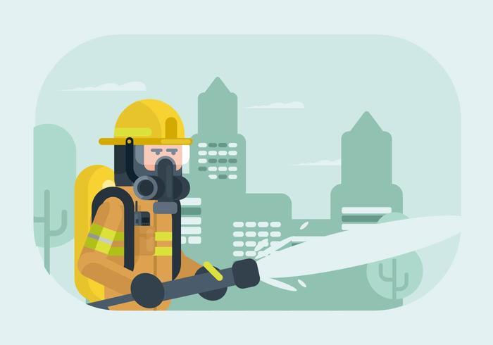 Brandman med respiratorillustration vektor