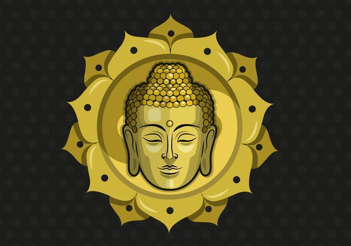 Buddah Vektor-Illustration mit Muster Hintergrund vektor