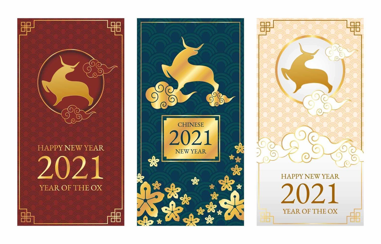 banners för kinesiskt nyår 2021 vektor