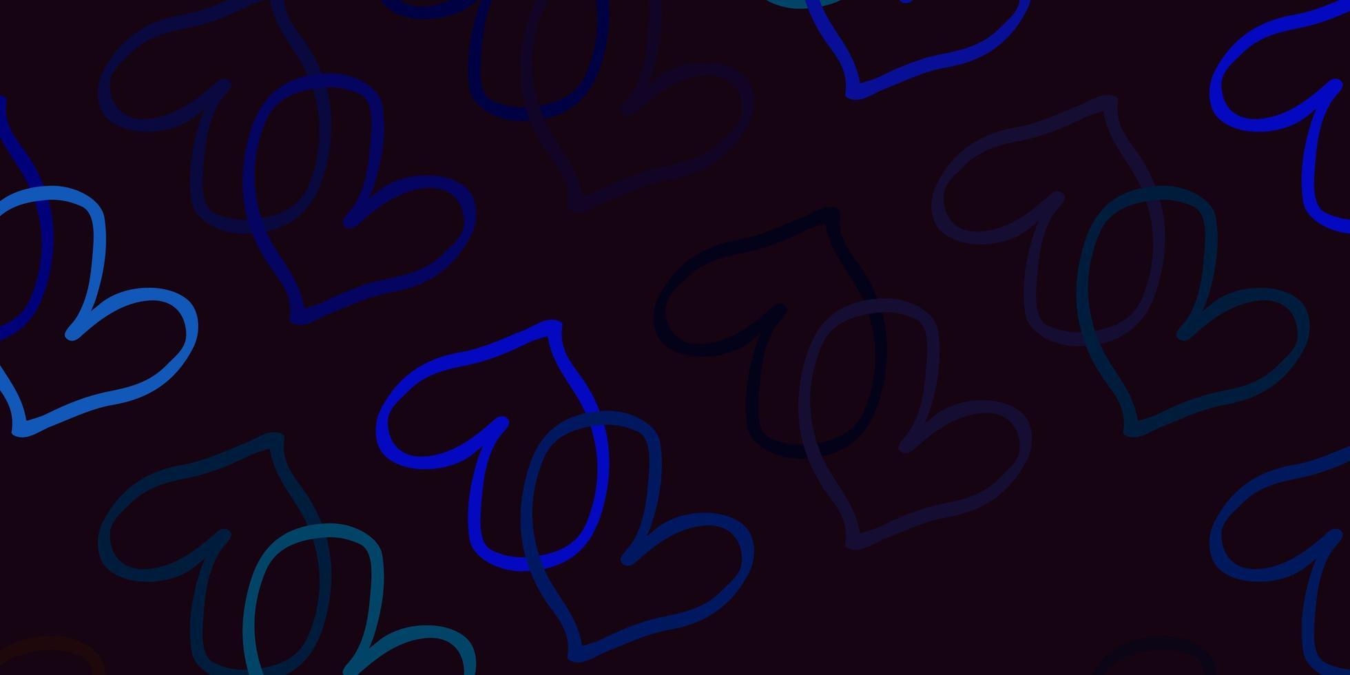 blå bakgrund med söta hjärtan. vektor
