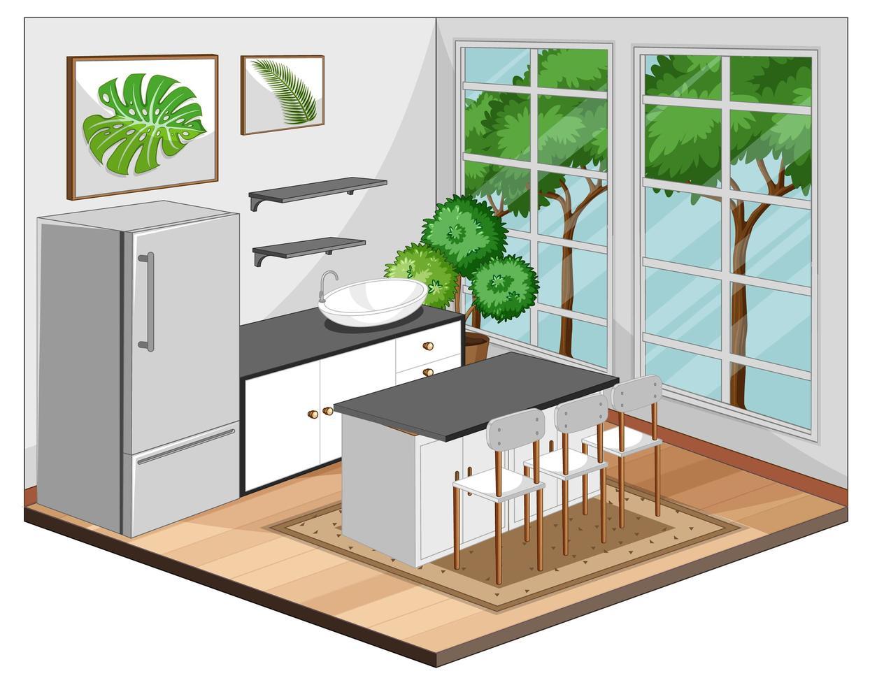 matsalinredning med möbler i modern stil vektor