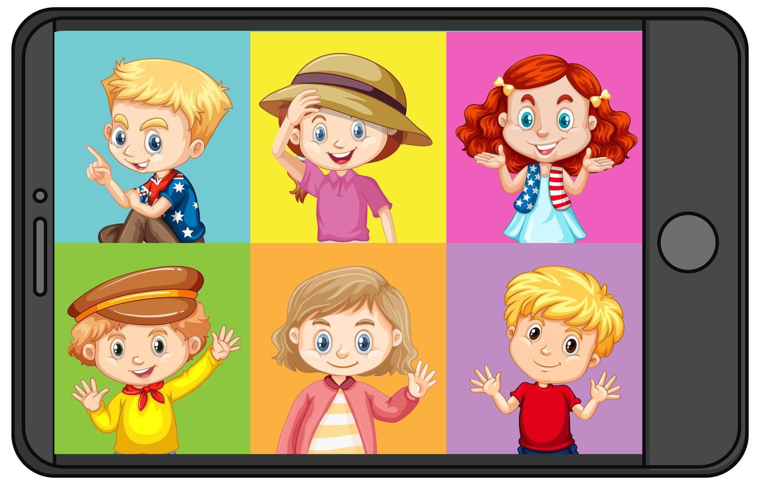 olika barn seriefigur på smartphone skärmen vektor