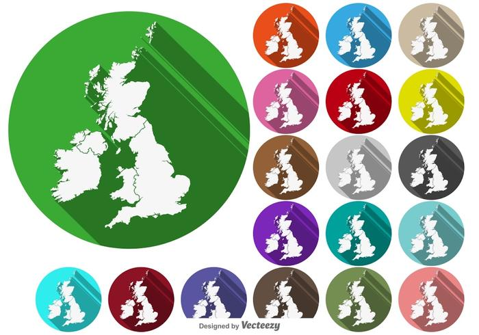Vector British Isles / Uk Map Buttons