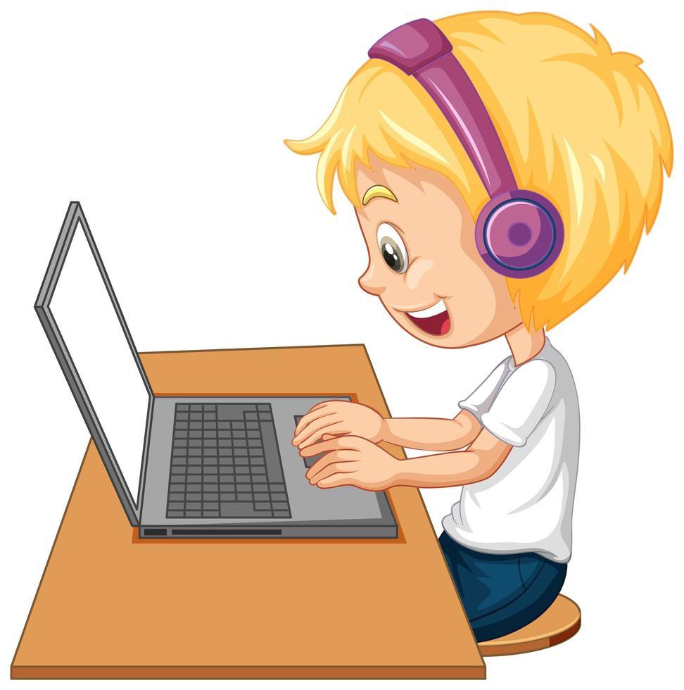 sidovy av en pojke med bärbar dator på bordet på vit bakgrund vektor