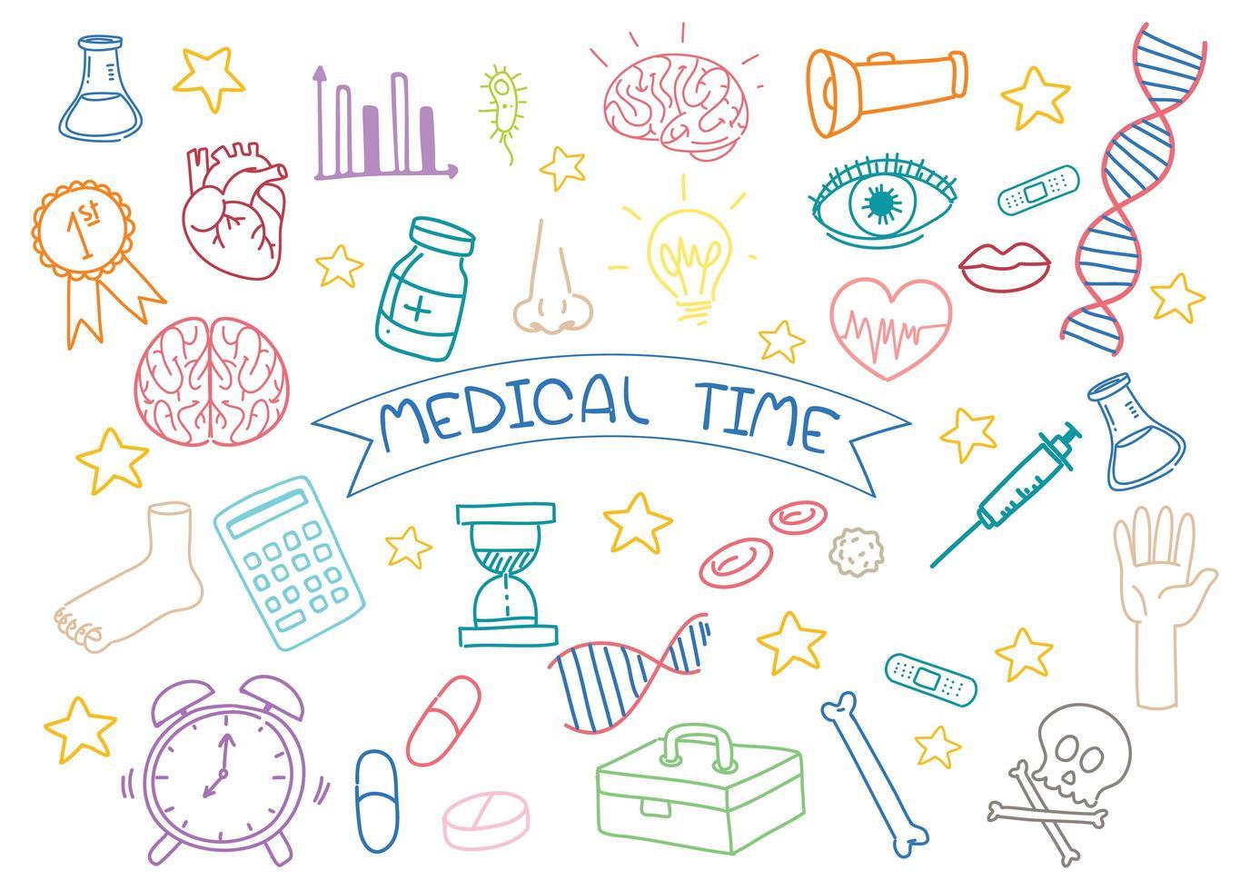 uppsättning medicinsk element doodle isolerad på vit bakgrund vektor