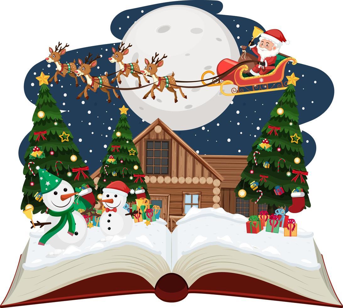 santa och snögubbe på julnatten vektor