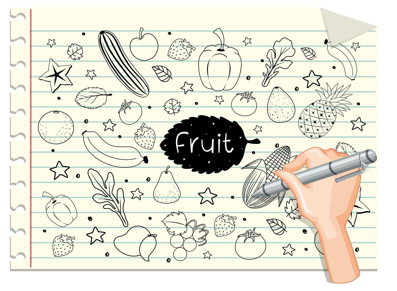 hand rita frukt i klotter eller skiss stil på papper vektor
