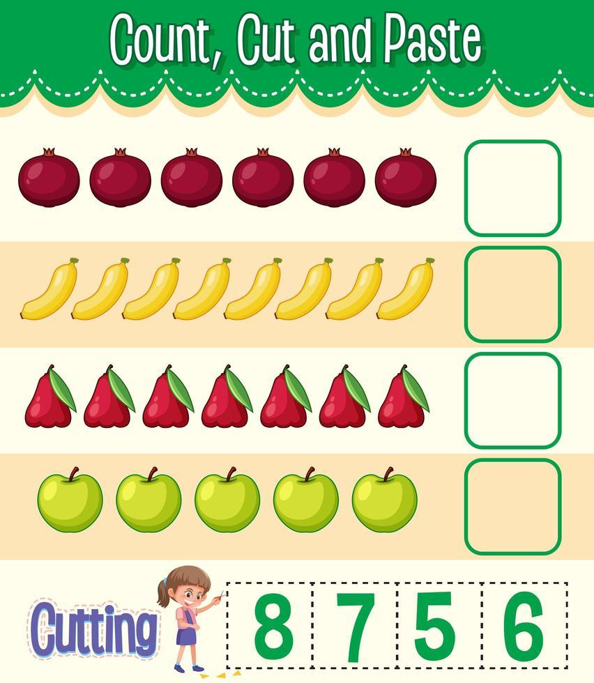 räkna, klipp och klistra in matematikark för barn vektor
