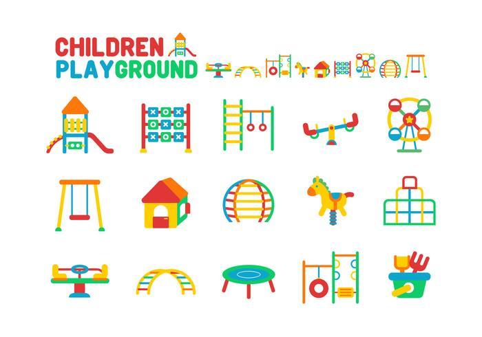 Kinder Spielplatz Icon Set vektor