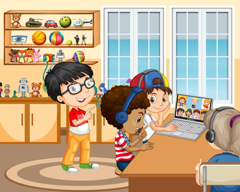 barn som använder bärbar dator för att kommunicera videokonferens med vänner i rumsscenen vektor