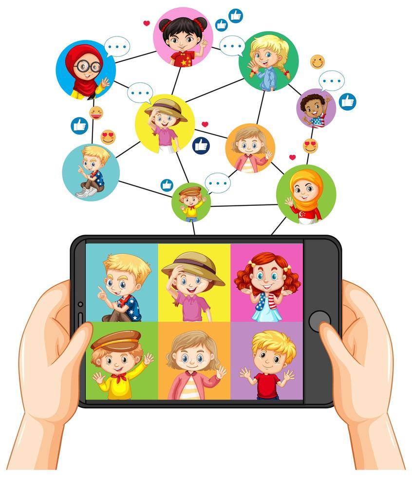 händer som håller smartphone med olika barn på smartphoneskärmen på vit bakgrund vektor
