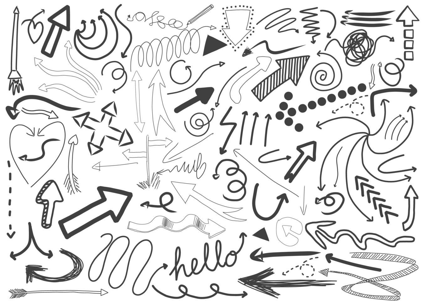 olika doodle stroke isolerad på vit bakgrund vektor