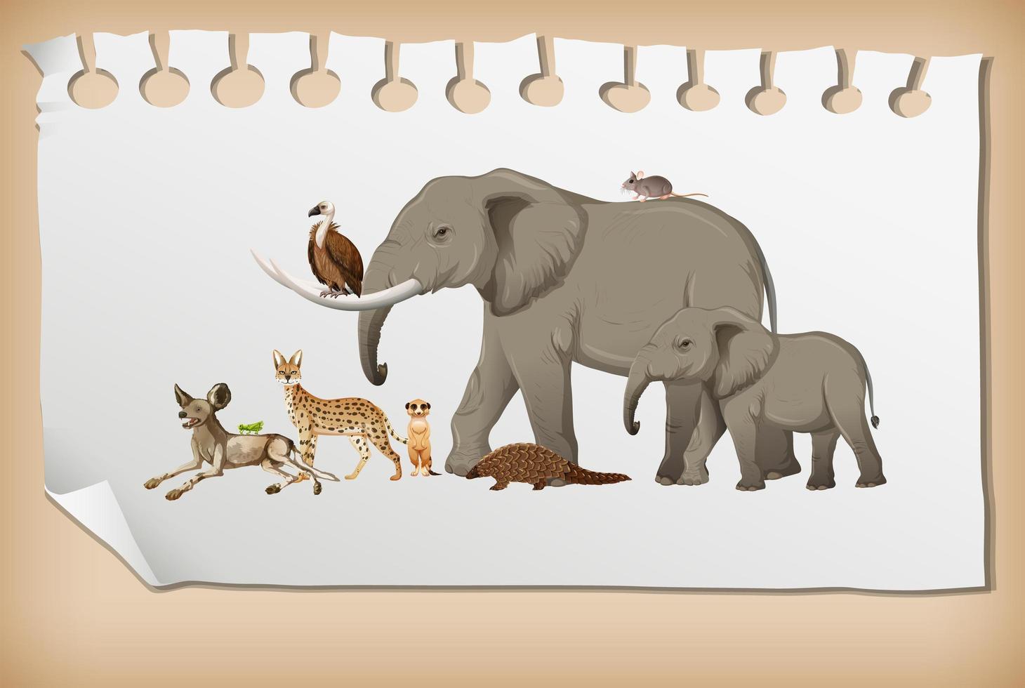 grupp av vilda afrikanska djur på papper vektor