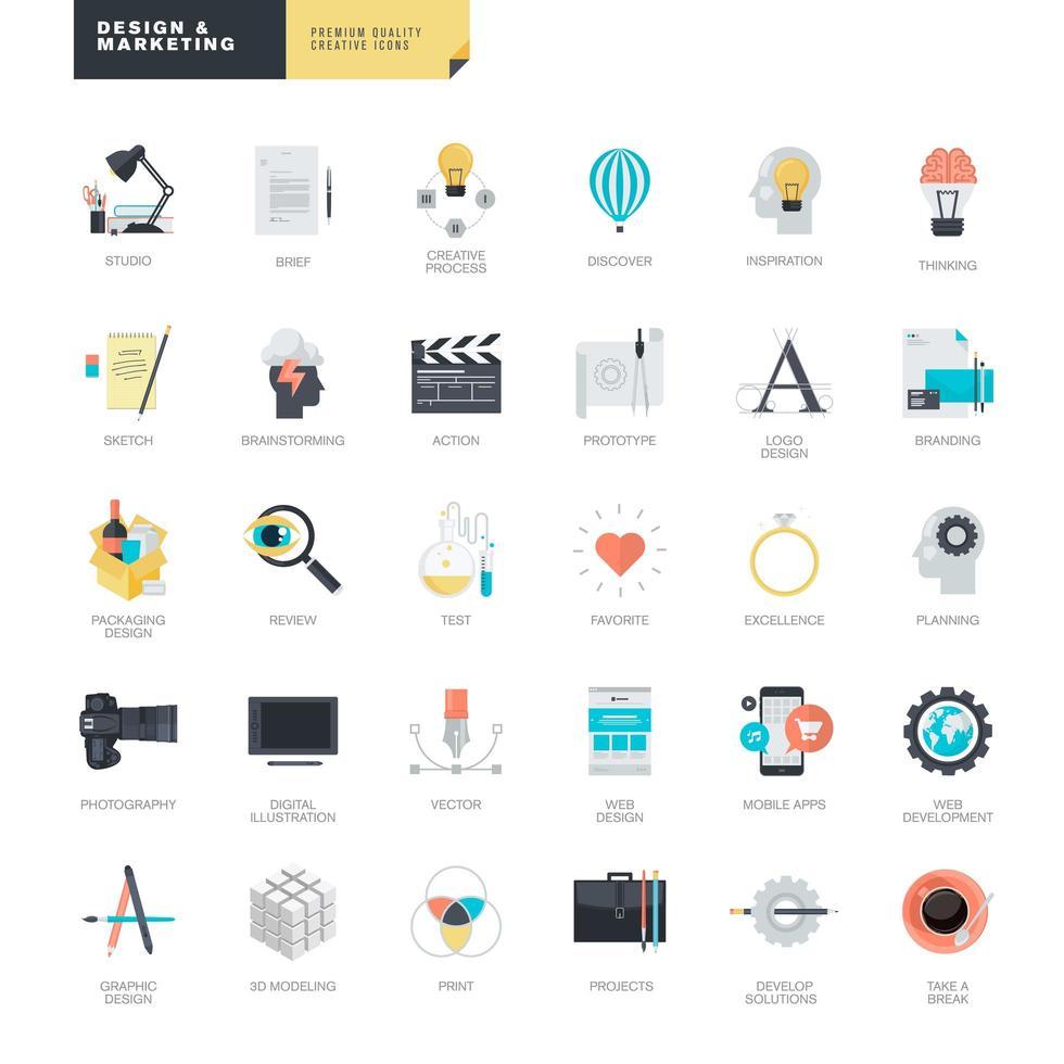 uppsättning platt design ikoner för grafik och webbdesign vektor