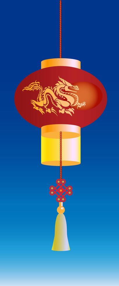 kinesisk lykta med gyllene drake vektor