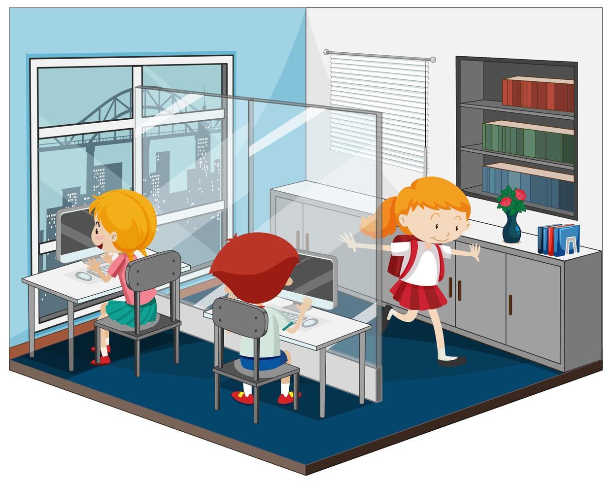 barn i datorrummet med möbler vektor