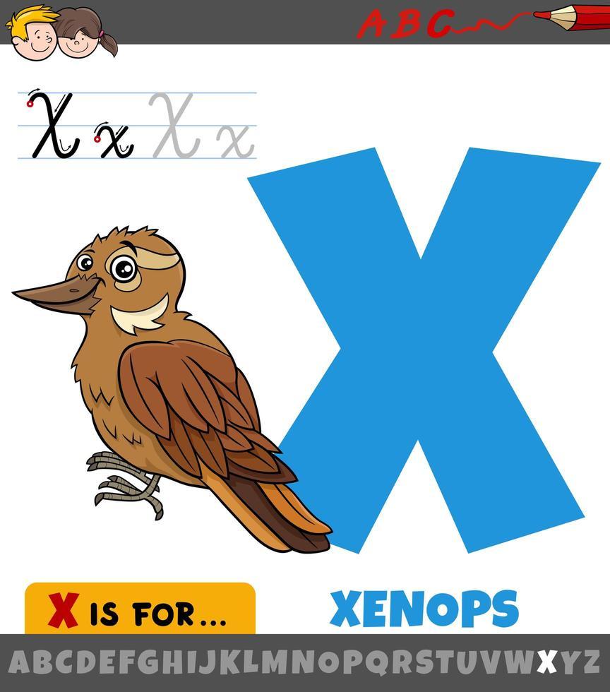 bokstaven x från alfabetet med tecknad xenops fågel vektor