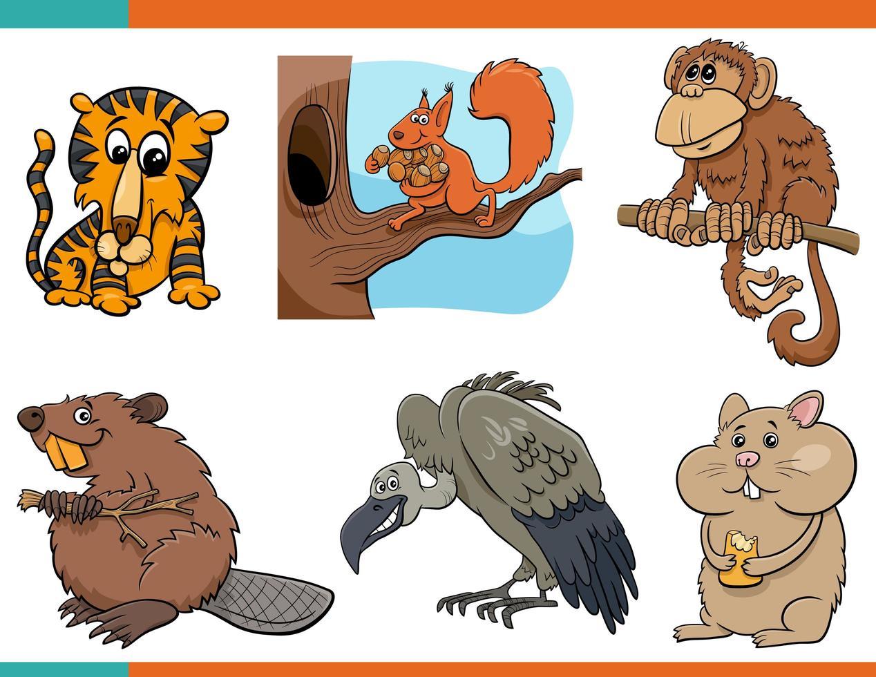 roliga djur seriefigurer vektor