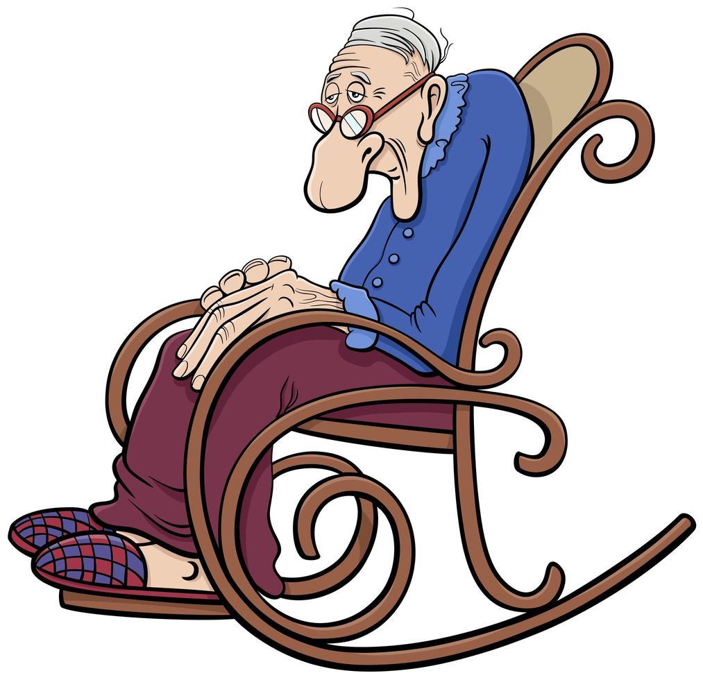 tecknad senior i gungstolen komiska karaktär vektor