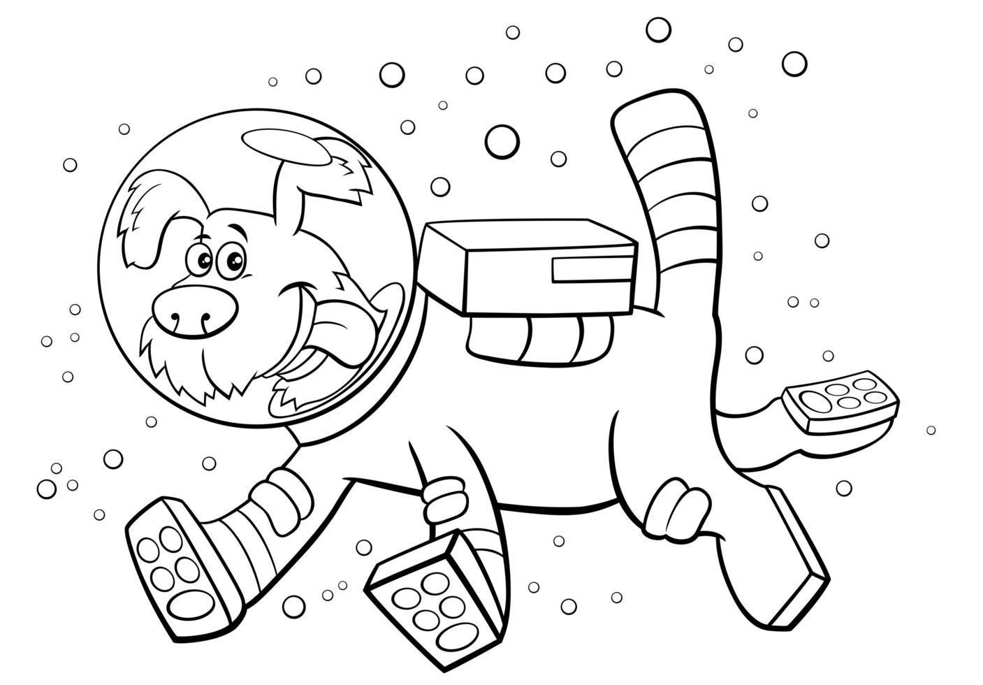 Cartoon Hund im Weltraum Charakter Malbuch Seite vektor