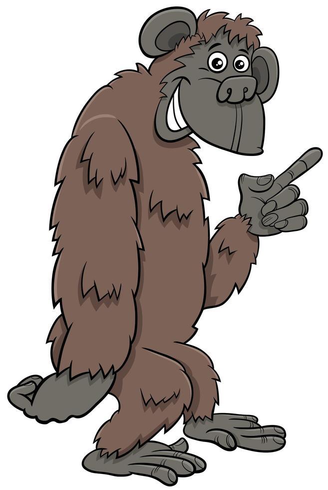 gorilla ape vilda tecknade djur karaktär vektor
