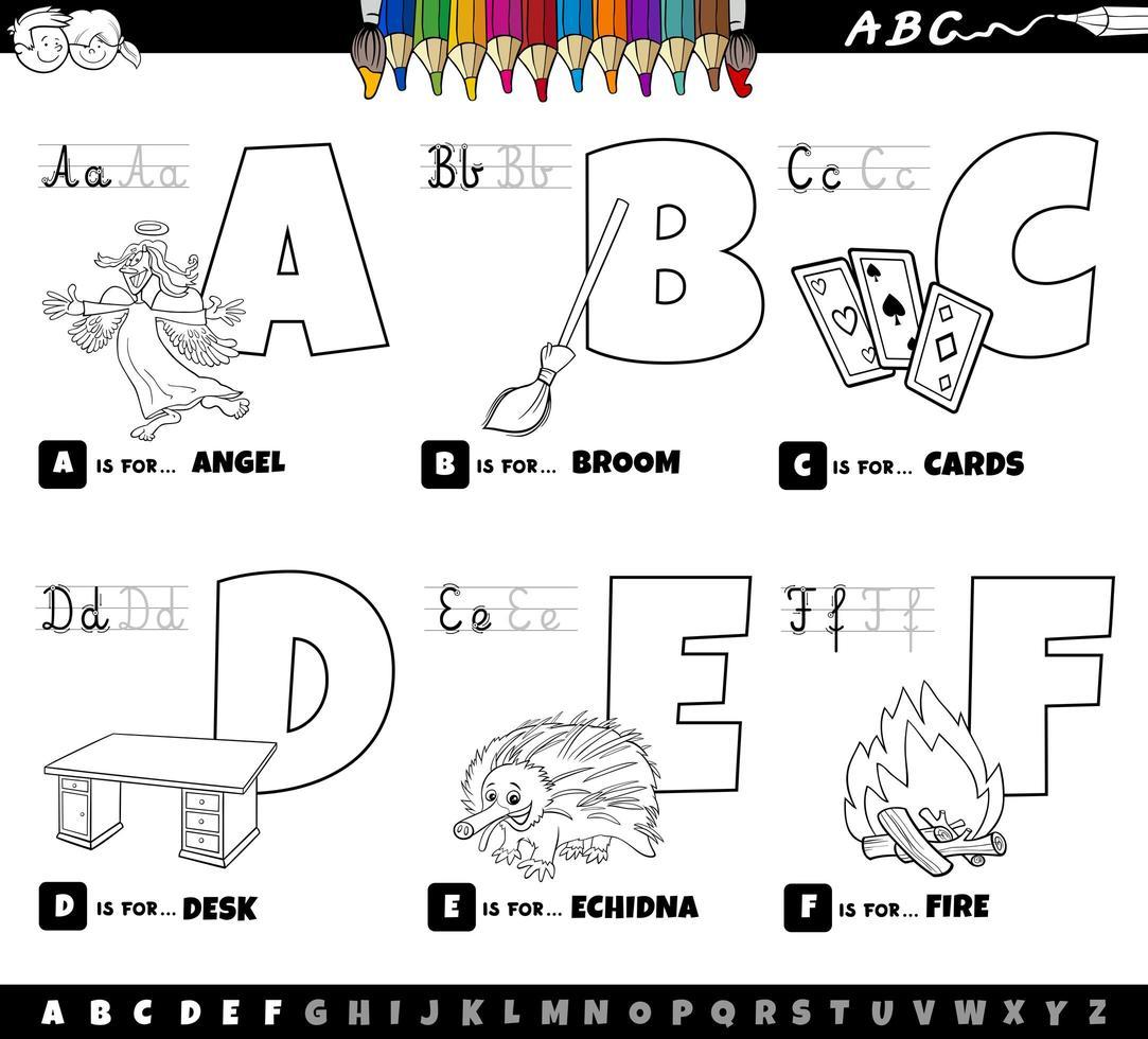 alfabetbokstäver från a till f målarbok vektor