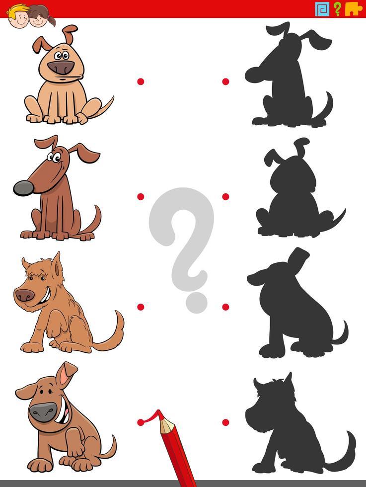 Schattenaufgabe mit lustigen Hundecharakteren vektor