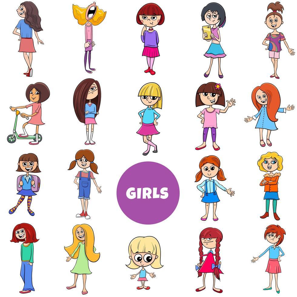 tecknad barn flickor karaktärer stor uppsättning vektor