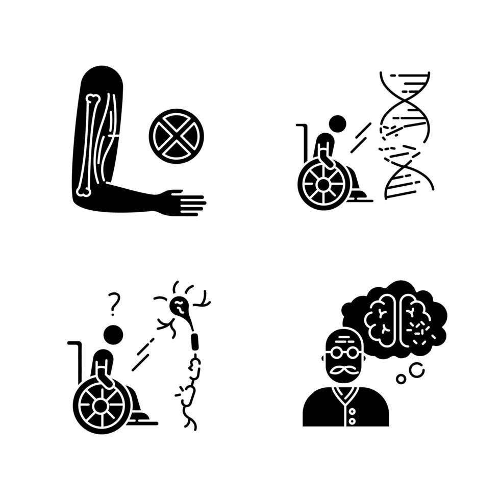 schwarze Glyphensymbole der Behinderung setzen auf Leerraum vektor