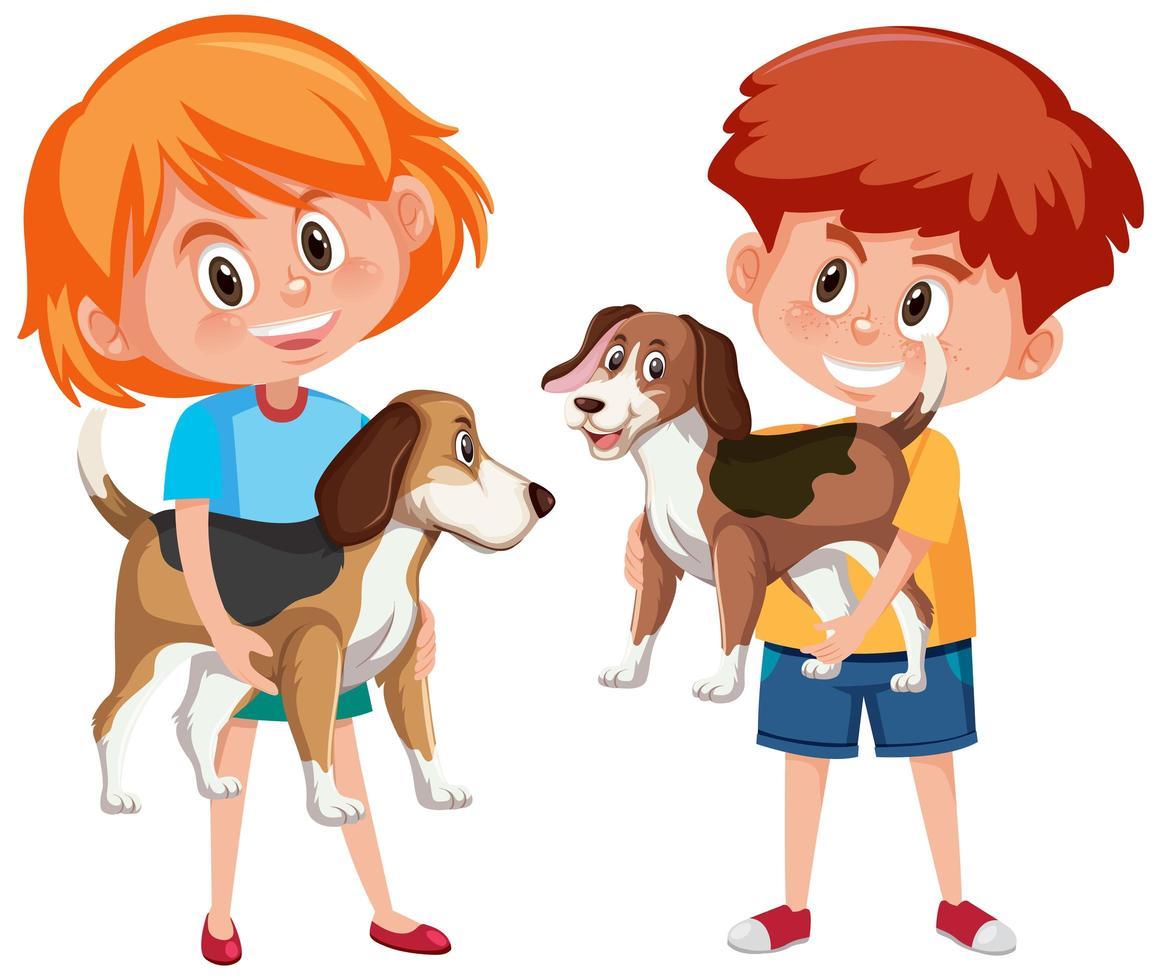 Kinder mit ihren Haustieren lokalisiert auf weißem Hintergrund vektor