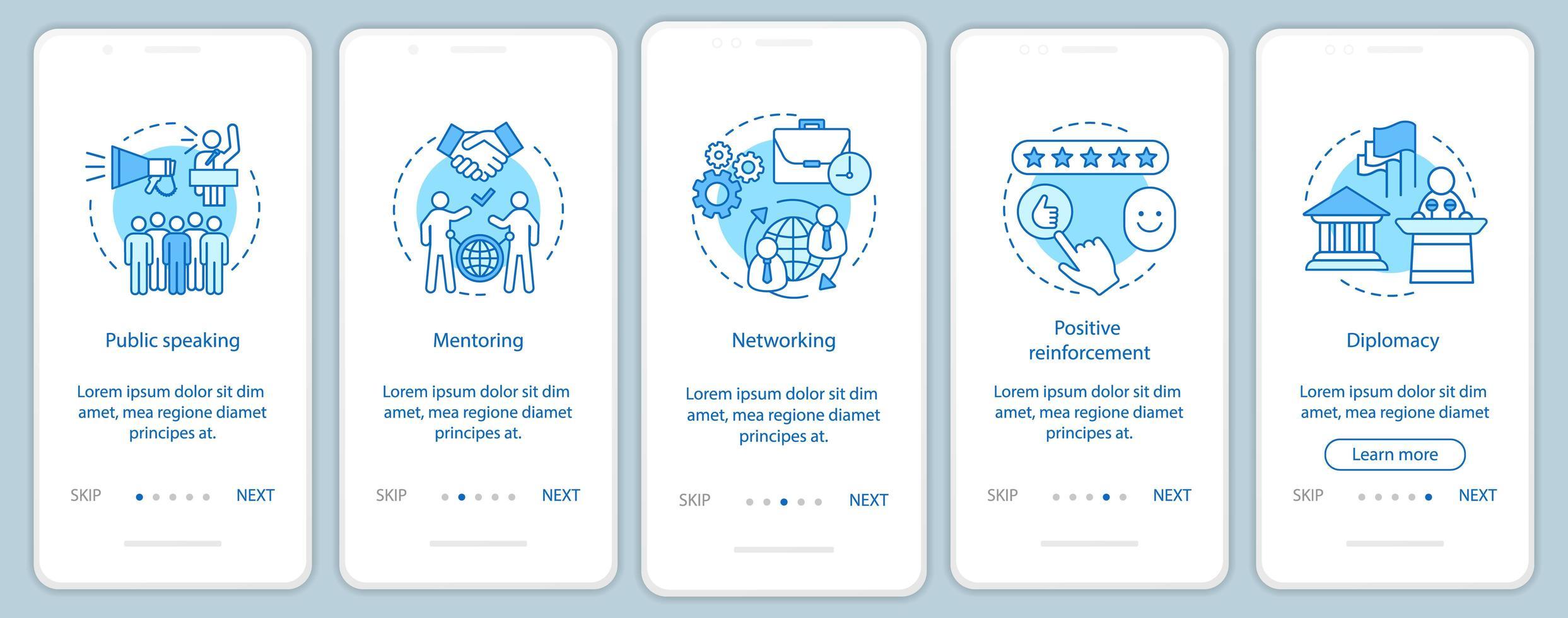 affärsfärdigheter ombord på mobilappsskärmen vektor