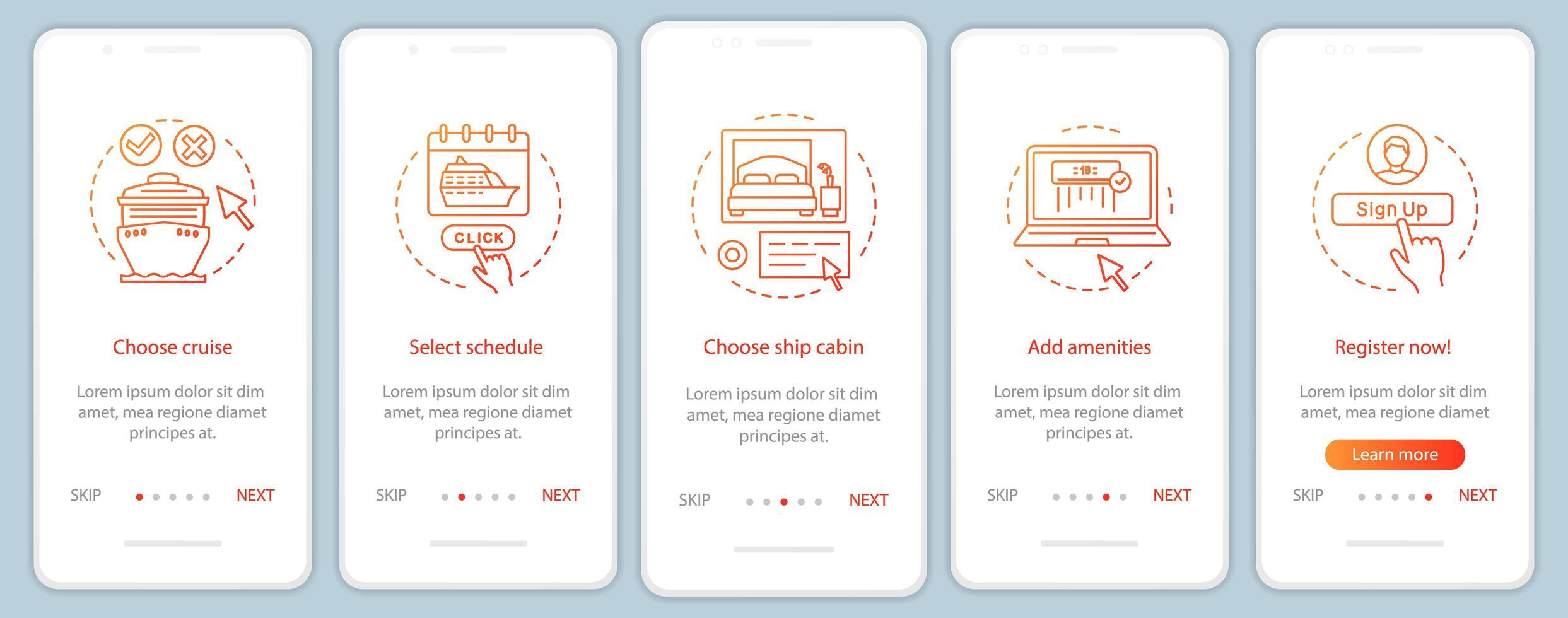 Online-Kreuzfahrtbuchung Onboarding Mobile App Seite Bildschirm vektor