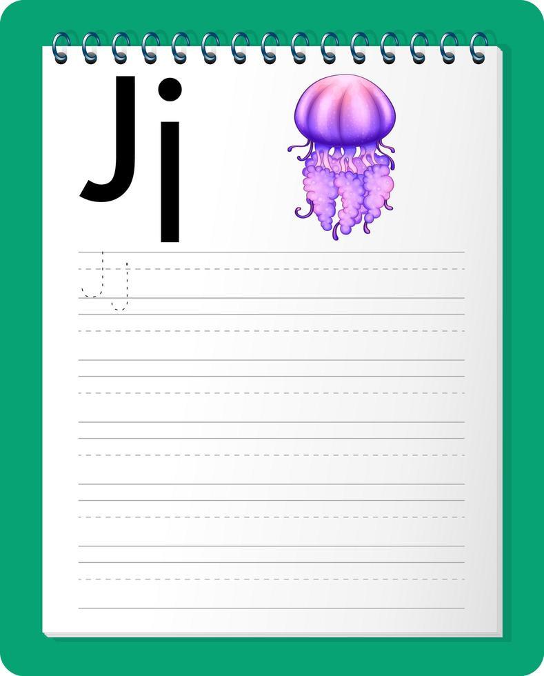 Arbeitsblatt zur Alphabetverfolgung mit den Buchstaben j und j vektor