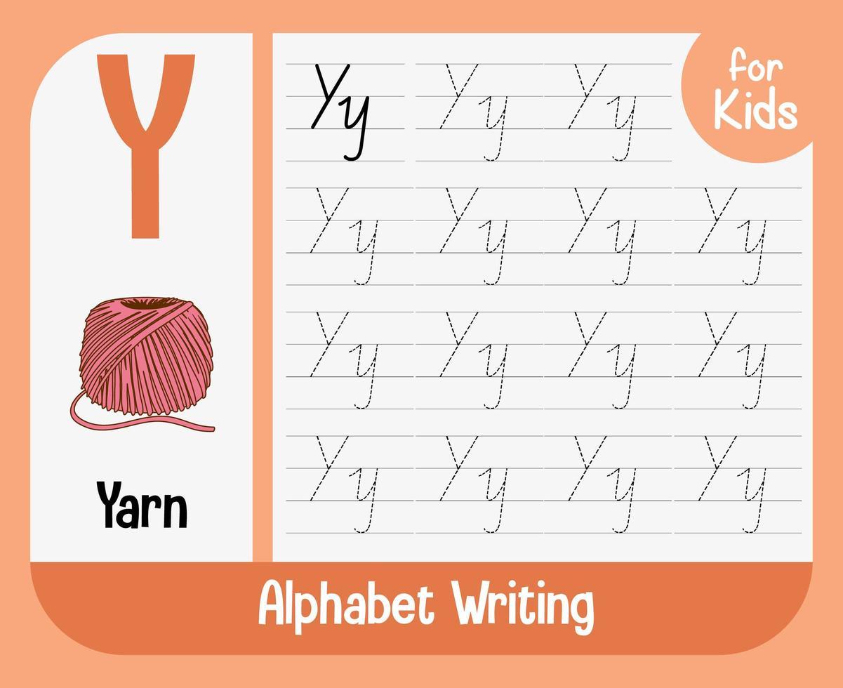 Arbeitsblatt zur Alphabetverfolgung mit Buchstaben und Vokabeln vektor