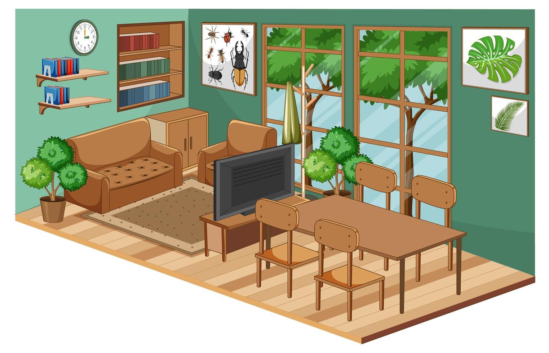 Wohnzimmer Interieur mit Möbeln und grüner Wand vektor