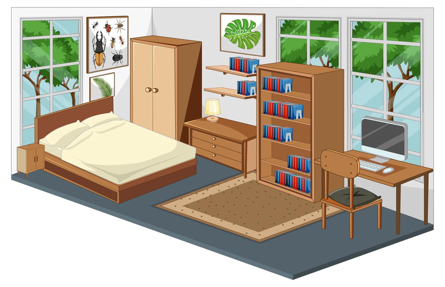 Schlafzimmer Interieur mit Möbeln in modernem Stil vektor