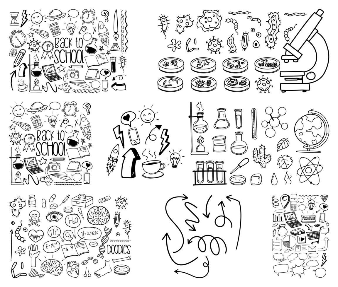 uppsättning objekt och symbol handritad klotter på vit bakgrund vektor