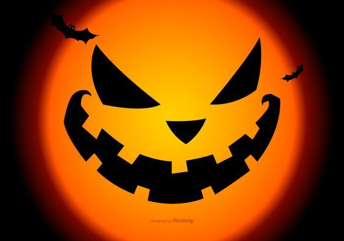 Spooky Pumpkin Face Halloween Bakgrund vektor