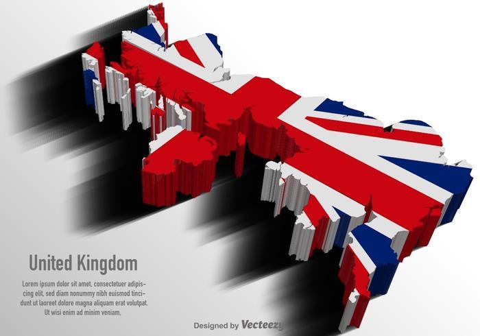 Vektor UK 3D-karta med flagga