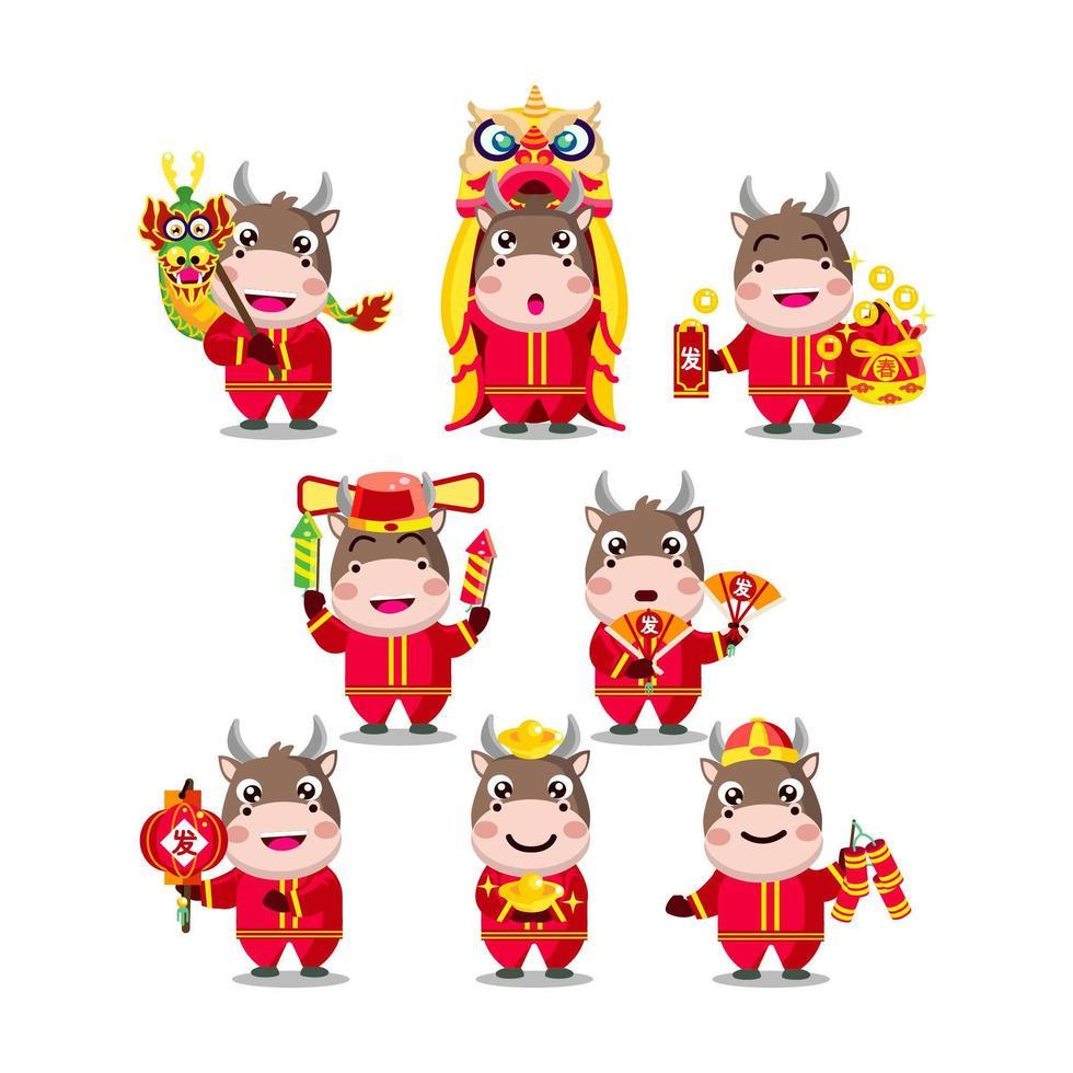 kinesiska nyåret söta animerade oxtecken vektor