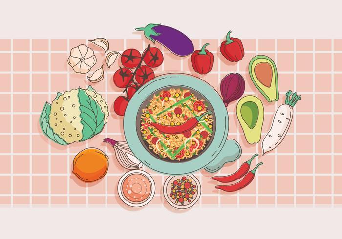 Molcajete och grönsaker Vector
