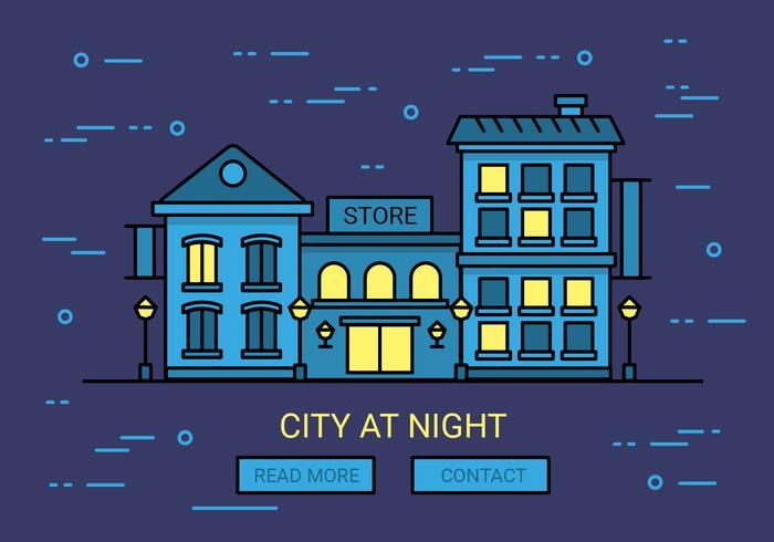 Gratis Linjär Night Cityscape Vector Bakgrund