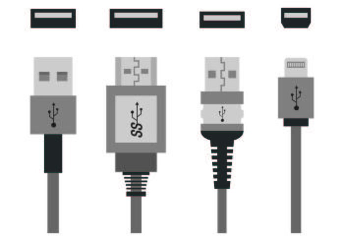 Set von USB-Port-Icons vektor